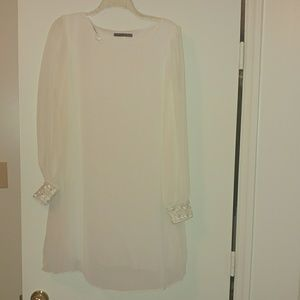 White Sheer Sleeved Dress